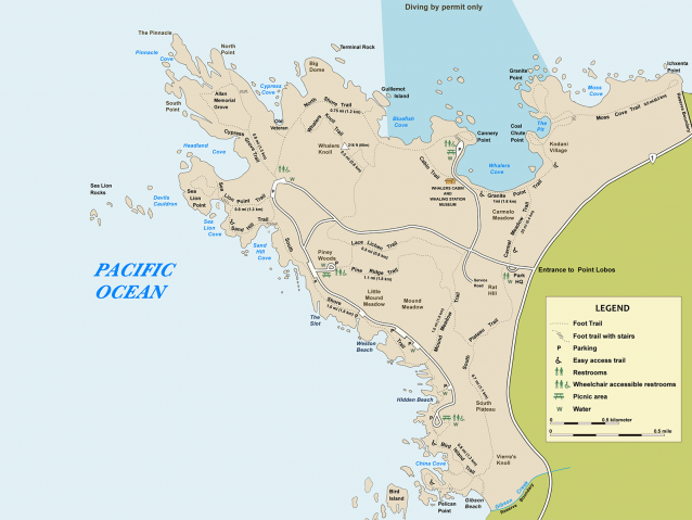 graphic of map of Point Lobos State Natural Reserve